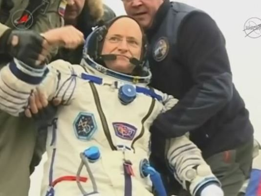 Astronaut Scott Kelly returned to earth Tuesday after a year in space.