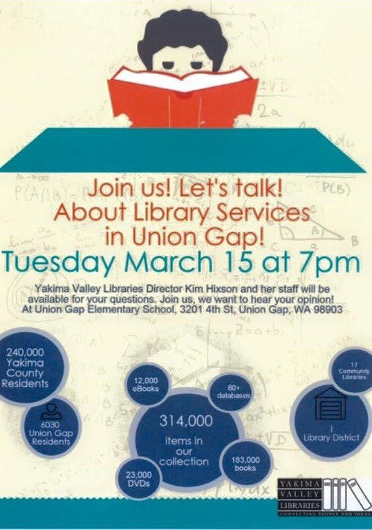 Flyer for Union Gap Library Services Event