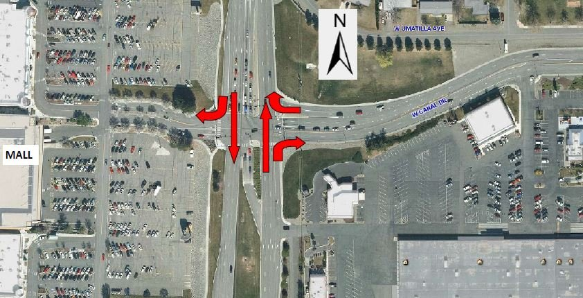 Traffic movements allowed at Columbia Center Blvd & Canal Drive while traffic signal is under repair