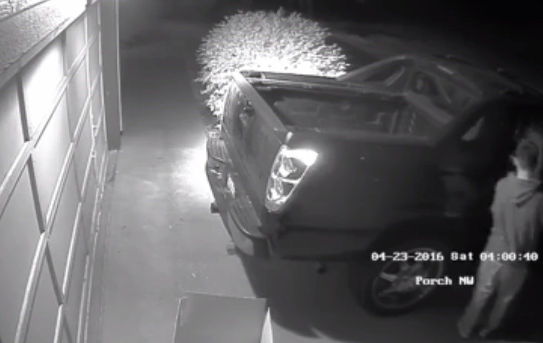 Kennewick police have released surveillance video in hopes of finding a car prowl suspect that may have hit several homes overnight.