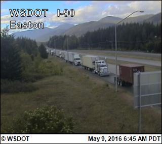 Traffic backed up near Easton