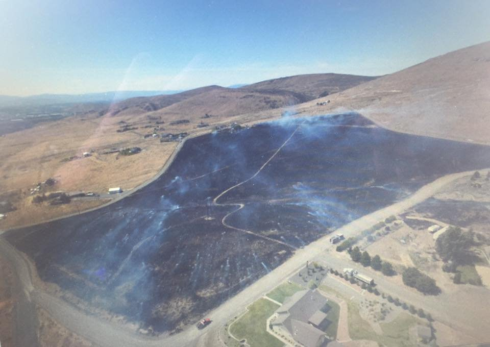 Area of Terrace Heights burned by brush fire 5/26/16 as shown by drone