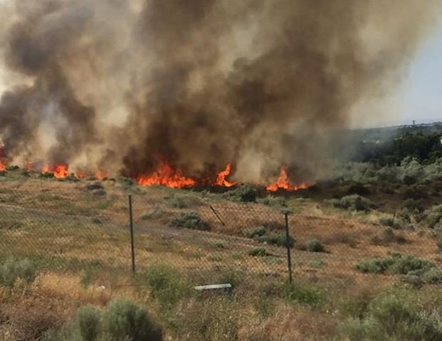 The high winds carried the fire, even the smoke poured over Interstate 182, closing down the roadway near Queensgate for a short time.
