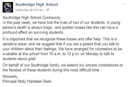 Post on Southridge High School's Facebook page