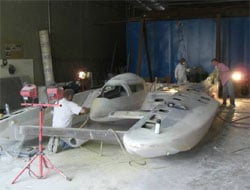 The new boat under construction just two months ago
