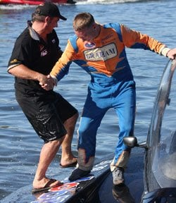 Kelly in the 2009 UIM World Grand Prix Hydroplane Championship in New Zealand