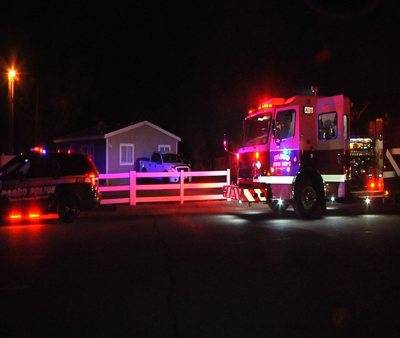 Pasco PD & FD on scene of a shed fire early morning 9/28/16