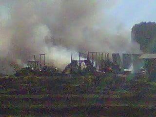 Photo of burning barn on Douglas Rd. around 6:25 p.m.