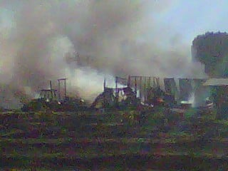 Photo of burning barn on Douglas Rd. around 6:25 p.m.