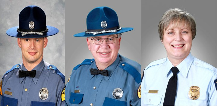 Photo courtesy of WSP. L to R: Trooper Kristopher Sperry, 30, Trooper Gary Miller, 55, Communications Officer Anne Miller-Hewitt.