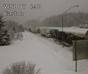 I-90 over Snoqualmie Pass is closed westbound near Easton, Cle Elum and Ellensburg due to high avalanche danger as of Thursday morning.