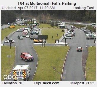 Crews staging at Multnomah Falls parking lot