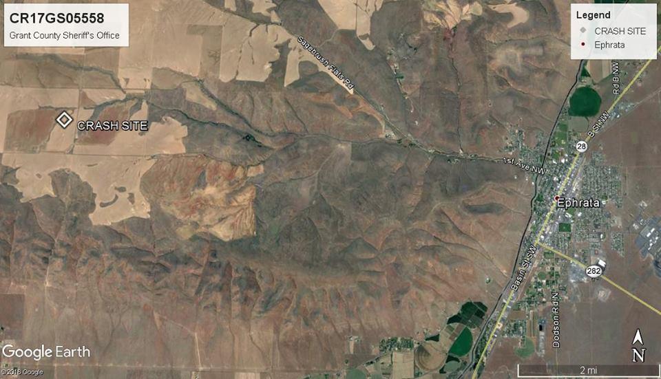 Map of Ephrata Glider Crash 5/26/17