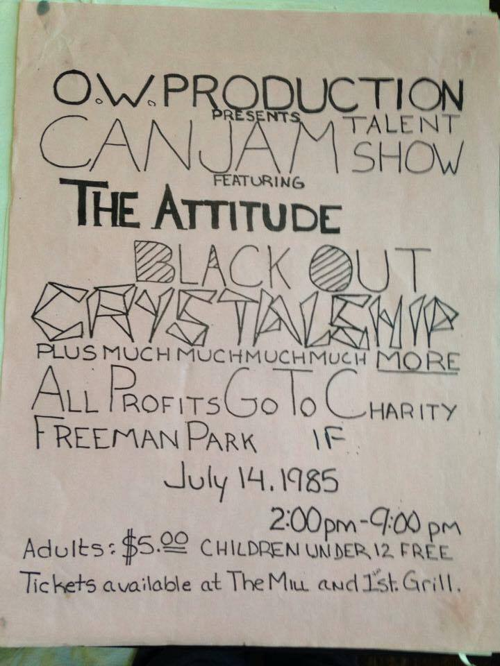 Original poster from Charboneau's band, Attitude Problem, 1985