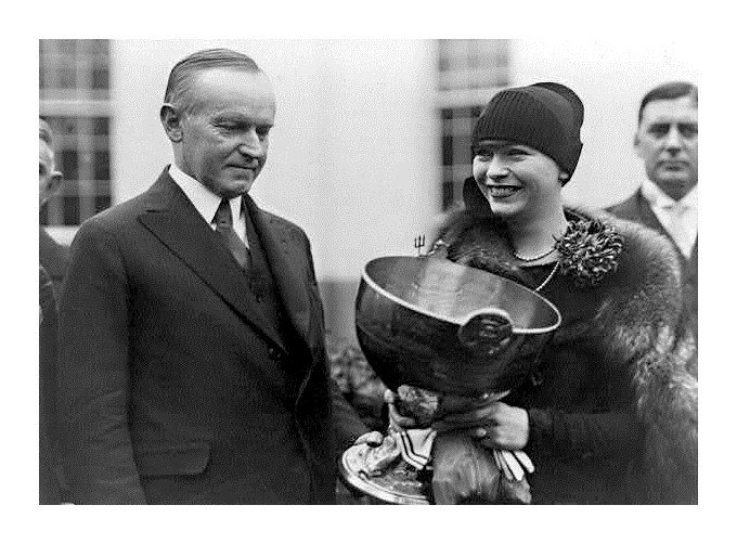 President Coolage with owner Delphine Dodge Cromwell in 1927