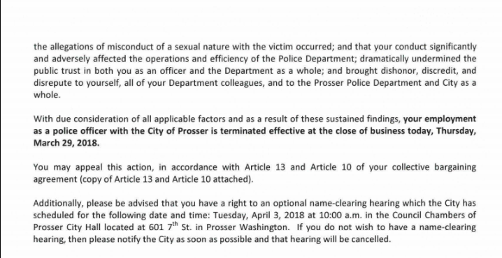 Officer Shane Hellyer's notice of termination Page 2