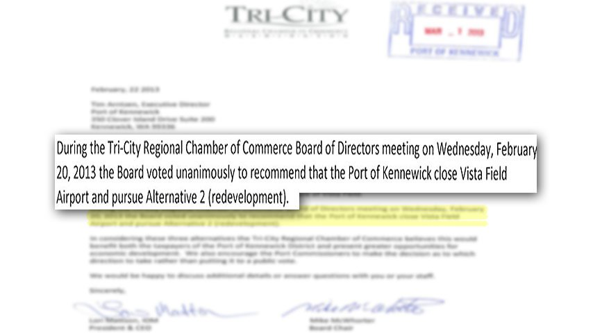 Letter to the Port of Kennewick from the Tri-City Regional Chamber of Commerce concerning the Vista Field Airport
