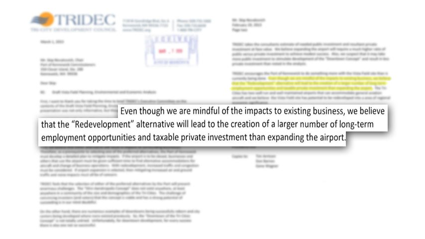 Letter to the Port of Kennewick from TRIDEC concerning the Vista Field Airport