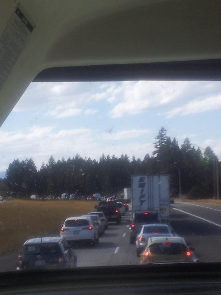 Courtesy: Sean McKillip -- Traffic backed up along I-90 near Cle Elum