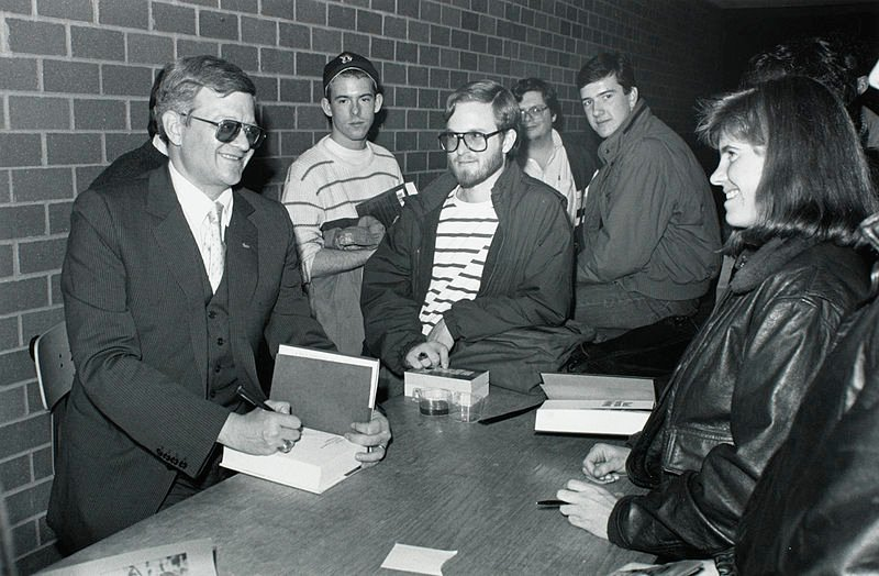 Tom Clancy at 1989 book signing at Boston College