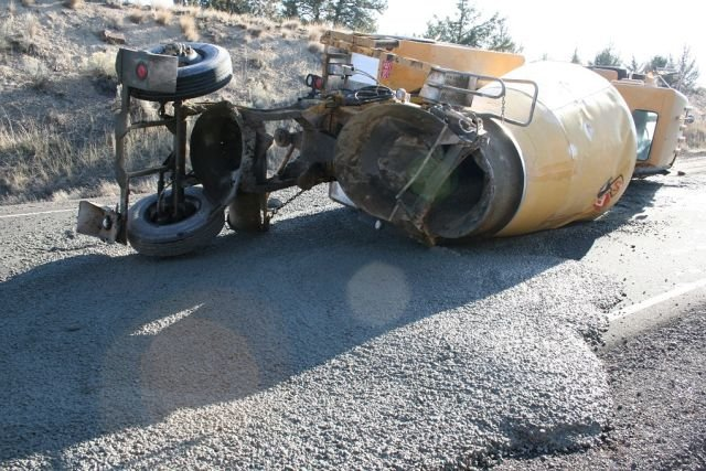 Oregon State Police is investigating what caused a concrete mixer truck to go off the road northwest of Prineville Tuesday.