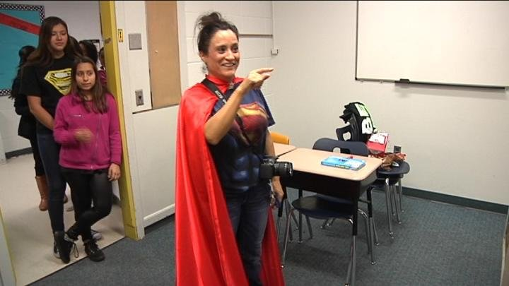 """Teachers played up the """"Super Celebration"""" at Stevens Middle School in Pasco."""