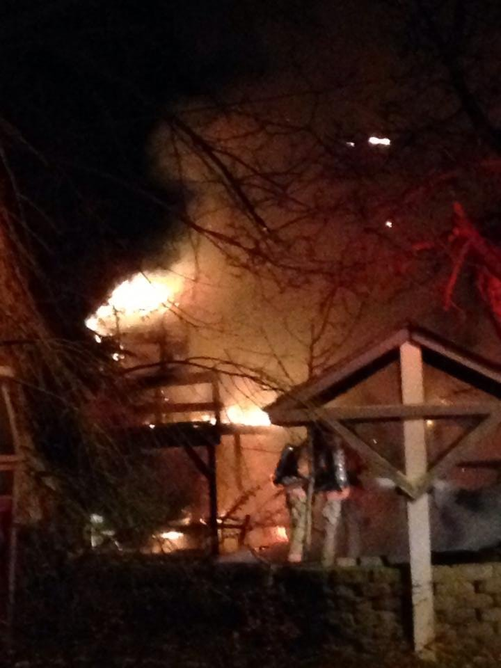 Firefighters battle wood shed fire in Finley Tuesday.