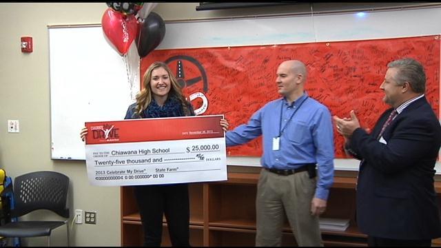 Chiawana High School's DECA club won a $25,000 grant from State Farm Insurance Tuesday.