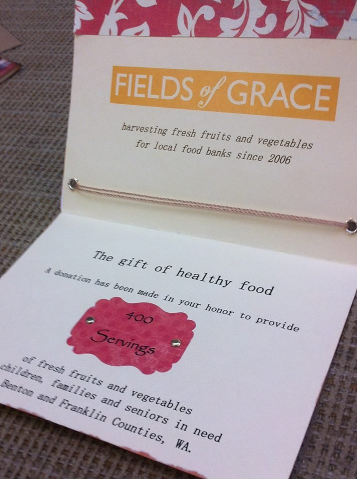 This year, Fields of Grace is offering a unique gift idea. Donations of $25-$100 will give the gift of fresh fruits and vegetables to families in need.