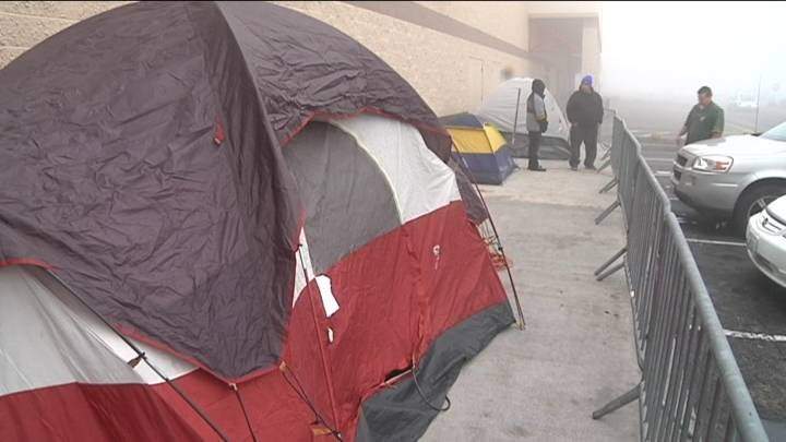 Some shoppers start extra early for Black Friday, camping out in order to get a good spot in line.
