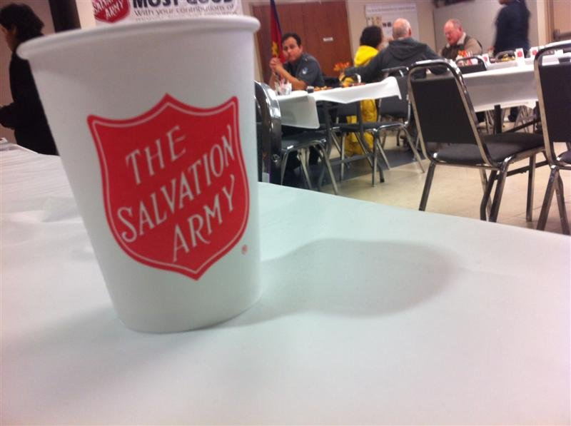 In Richland, a few hundred people stopped by the Salvation Army for a free meal.