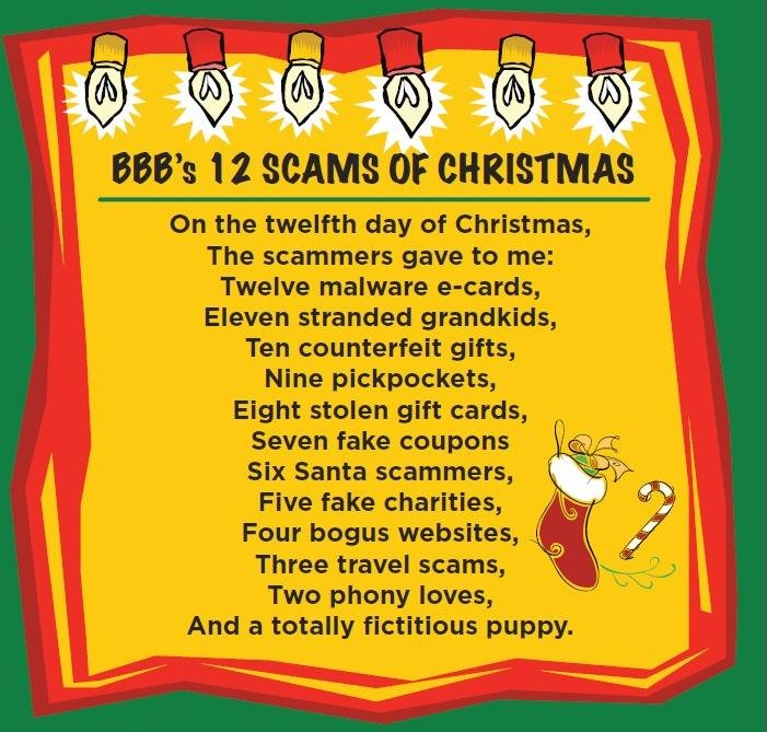 The Better Business Bureau wants to give you a heads up about several common holiday scams.