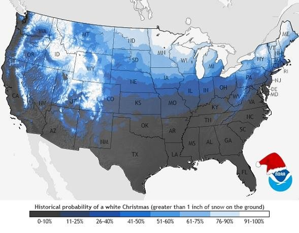 The historical probability of seeing a White Christmas (Credit: NOAA)