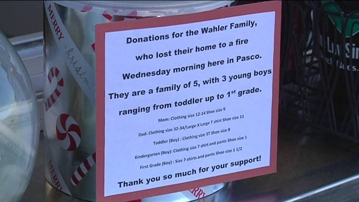 Friends of a Pasco family, who lost their home in a fire Wednesday morning, are working with Dutch Brothers in Pasco to collect donations for the family.