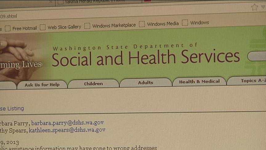 The state's Department of Social and Health Services' Economic Service Administration said private information of possibly 7,000 households may be in the wrong hands.
