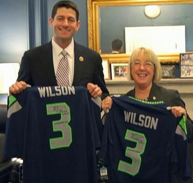 Congressman Paul Ryan (R-WI) now has his very own autographed Russell Wilson Seahawks jersey.