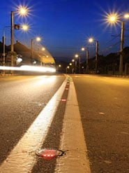 Crews plan to install solar-powered LED lane markers on I-90, similar to this picture.