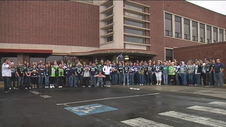 Students and teachers at Perry Technical institute in Yakima showed off some 12th man pride Wednesday morning.