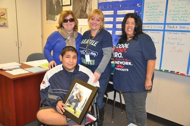 An eighth grade student at Ochoa Middle School in Pasco is receiving some special encouragement on his journey to walk again.