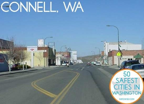 A security organization that focuses on community security ranks Connell as the safest city in Washington state.