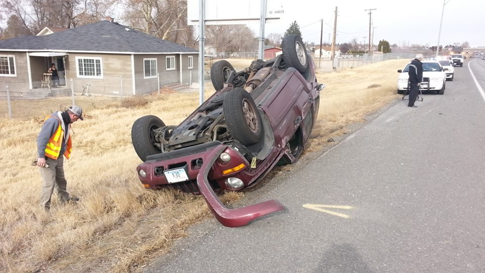 A man is lucky to be unharmed after rolling his jeep in Pasco.