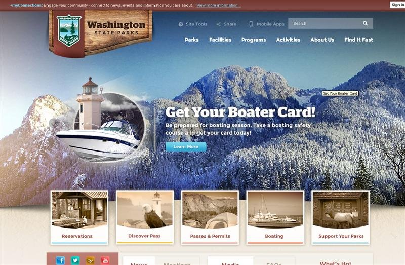 The Washington State Parks and Recreation Commission announces the launch today of a new interactive website that allows the agency to provide improved public service and information about parks and programs.