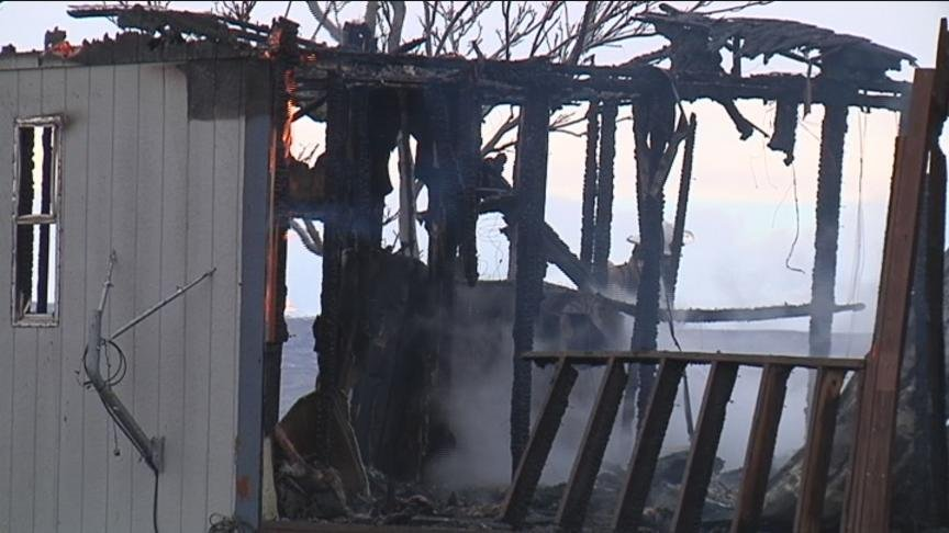 NBC Right Now was the only news team on the scene at a house fire that destroyed a home Friday in White Swan.