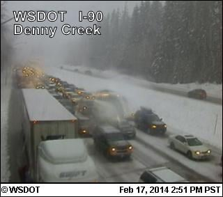 Eastbound lanes of Snoqualmie Pass, near Denny Creek & North Bend, have reopened Monday.