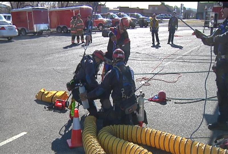 Firefighters brushed up their skills Wednesday for rescuing a person from a manhole.