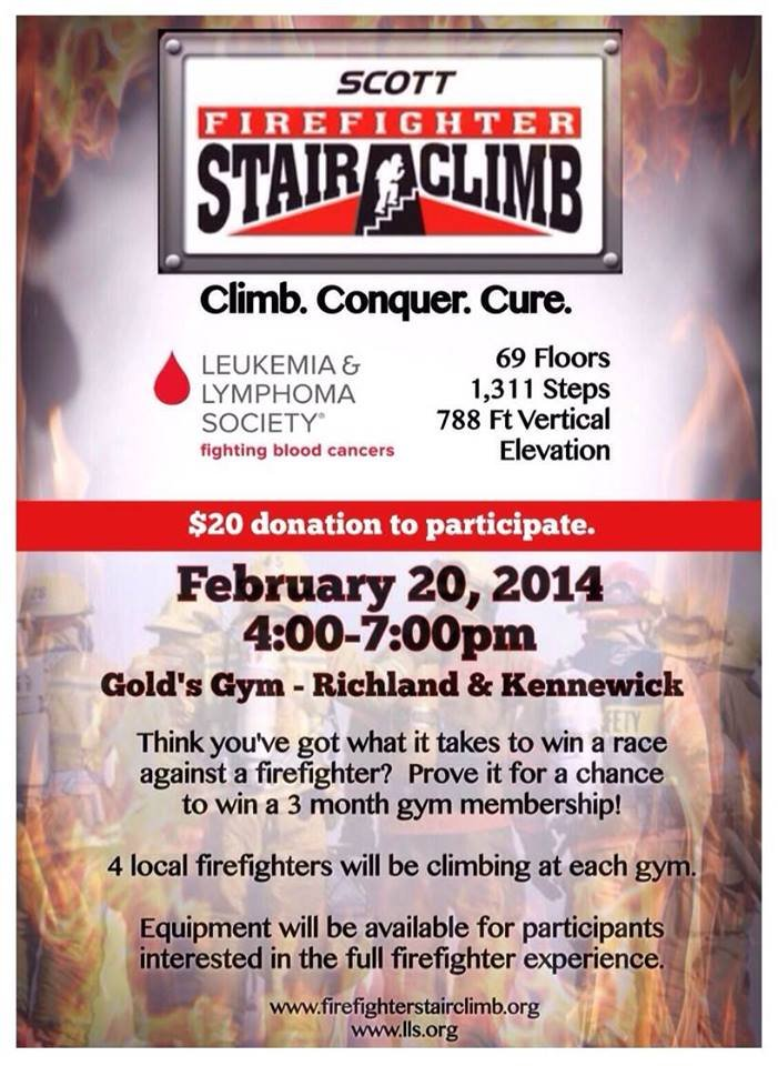 You had the chance to stair climb against a firefighter at both Gold's Gym locations in the Tri-Cities on Thursday night.