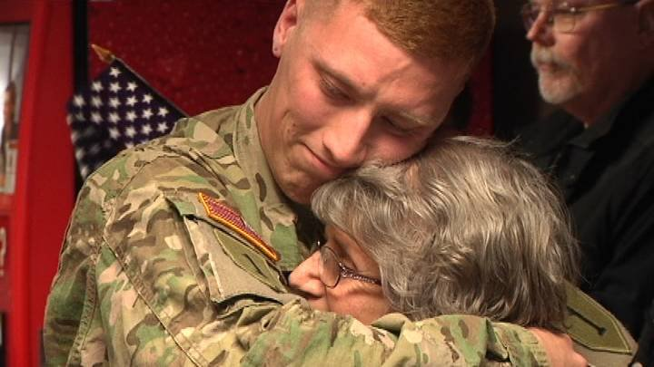 A large group of family, friends and local veterans gathered at the Pasco airport Wednesday to welcome home an Army soldier who's finally home from Afghanistan.