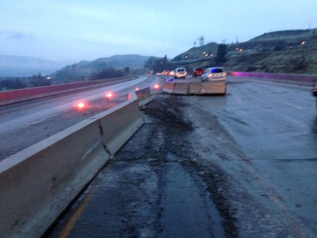 Oregon Department of Transportation crews worked to repair the center divider along I-84 after an ice-related crash.