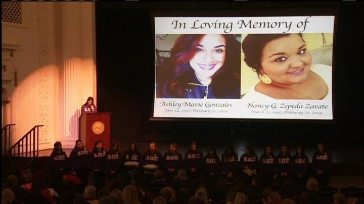 Eastern Washington University held a memorial Monday for two students who were killed in a car crash last month.