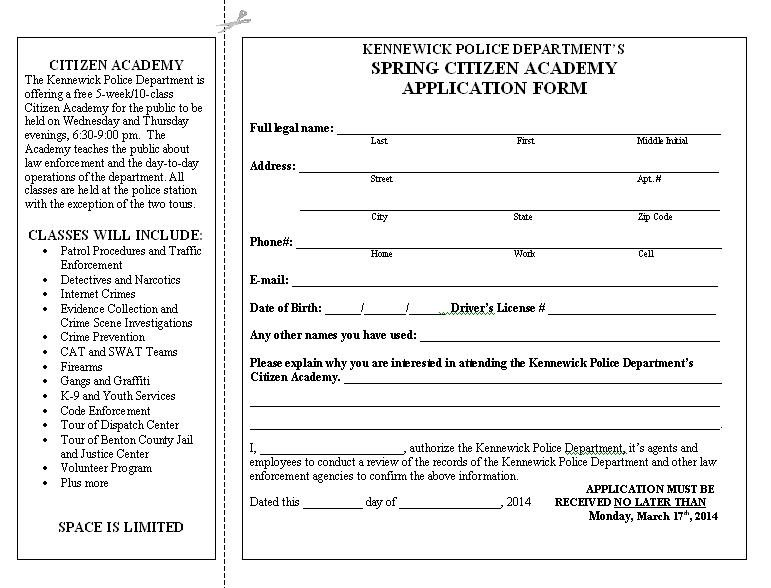 Kennewick Police say there are still spaces available for people to take part in the KPD Citizen Academy.